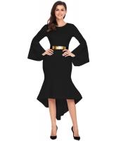 ブラック ワイド袖 ディップ裾 ベルト付き ドレス cc61802-2