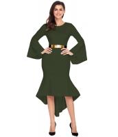 オリーブ グリーン ワイド袖 ディップ裾 ベルト付き ドレス cc61802-9