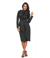 グレー 非対称 ペプラム スタイル プッシーボウ ドレス cc61826-11
