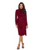 ブルゴーニュ 非対称 ペプラム スタイル プッシーボウ ドレス cc61826-3