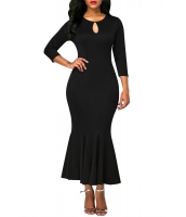 ブラック キーホール フロント フラッシング 裾 ビンテージ ドレス cc61836-2