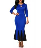 ロイヤルブルー キーホール フロント フラッシング 裾 ビンテージ ドレス cc61836-5