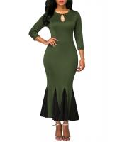オリーブ キーホール フロント フラッシング 裾 ビンテージ ドレス cc61836-9