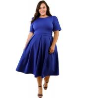 ブルー 大きいサイズ プリーツ フレア ドレス cc61843-5