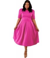 ばら色 大きいサイズ プリーツ フレア ドレス cc61843-6