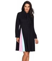 パチワーク タイネック 長袖 ブラック フレア ドレス cc61846-2