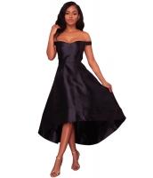 ブラック 輝き ハイロー パーティ イブニングドレス cc61850-2