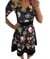 ハッピークリスマス カートン プリント ブラック Aライン ドレス cc61860-2