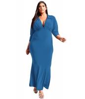 ネイビー ブルー 大きいサイズ 襟付き ディープV マキシドレス cc61866-5