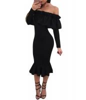 ブラック 長袖 フリル オフショルダー ドレス cc61871-2