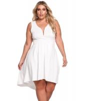 ホワイト 袖なし Vネック 大きいサイズ ハイロー ドレス cc61900-1