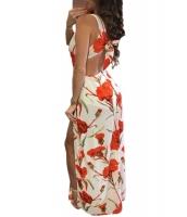 燃えるように熱い 花柄 プリント 結び目 バック ノースリーブ・袖なし ロンパース ドレス cc64306-14
