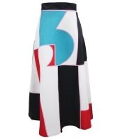 イレギュラー カラーブロック プリント ハイウエスト マキシ スカート cc65017-22