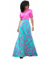 ピンク ミント 散らばった クラック なだらかな マキシ スカート lc65036-3