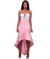 ピンク フリル 裾周り スプライス ハイロー スカート lc65038-10