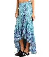 ブルー ジプシー スタイル プリント サロン ビーチ ドレス lc65040-5