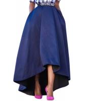 ネイビー ブルー 非対称 ハイロー裾 マキシ丈 プロムスカート cc65062-5